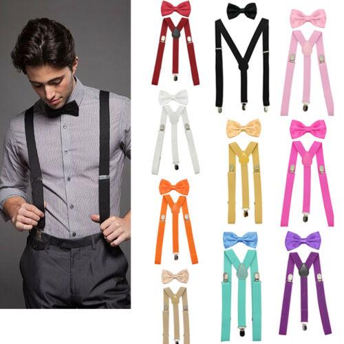 Men's Suspenders Clip-on Y Back and Bow Tie Retro Steampunk