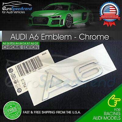 Audi A6 Chrome Emblem 3D Rear Trunk Lid Badge OEM S Line Logo Nameplate