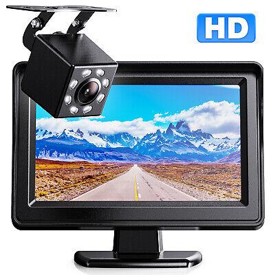 """Car Rear View Backup Reverse 8 Led Camera Night Vision + 4.3"""" TFT LCD Monitor"""