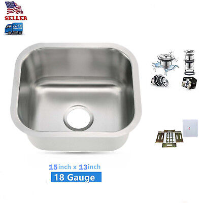 Undermount Small Bowl Kitchen Bar Prep Sink 304 Stainless Steel 15