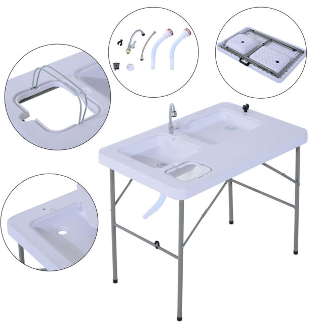 Outsunny Portable Fish Table Cleaning Cutting Camping Foldable W ...