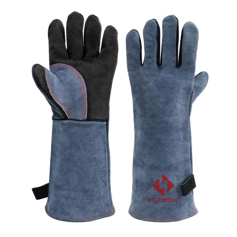 HITBOX MIG MMA TIG Welding Gloves 932℉Heat Fire Resistant BBQ Gloves Oven Mitt