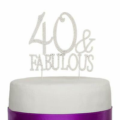 40th Birthday Party Cakes - 40 & Fabulous Silver Rhinestone Cake Topper 40th Birthday Party Decoration