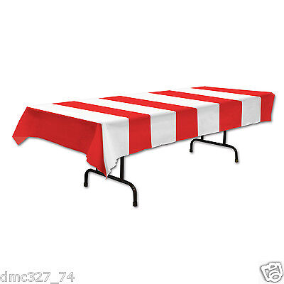 CIRCUS CARNIVAL Big Top Party Decoration RED WHITE Stripe STRIPED TABLE COVER - Circus Carnival Decorations