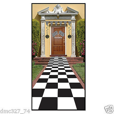 Racing 50s Sock Hop Alice In Wonderland Party Decoration CHECKERED Floor RUNNER