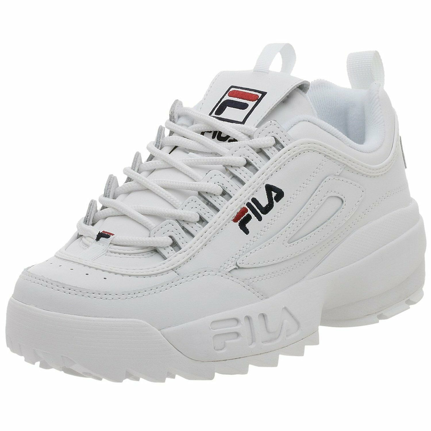 Men Fila Disruptor II Synthetic Fw01655-111 White Navy 100% Authentic Brand  New 37cae3752254a