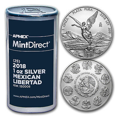 2018 Mexico 1 oz Silver Libertad (25-Coin MintDirect® Tube) - SKU#150008