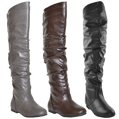 Womens Boots Faux Leather Ruched Over The Knee High This Shoe Run Two Size Small