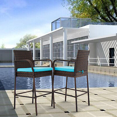 Set of 2 Bar Stool Outdoor Patio PE Wicker Barstool Pool High Chair, w/ Cushions ()
