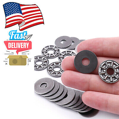 10x Thrust Needle Roller Bearing 8x19x2 Mm Thrust Bearings Cage With 2 Washers