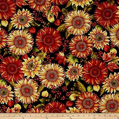 Fall Fabric - Autumn Album Large Sunflowers Black - Henry Glass YARD](Yard Glasses)