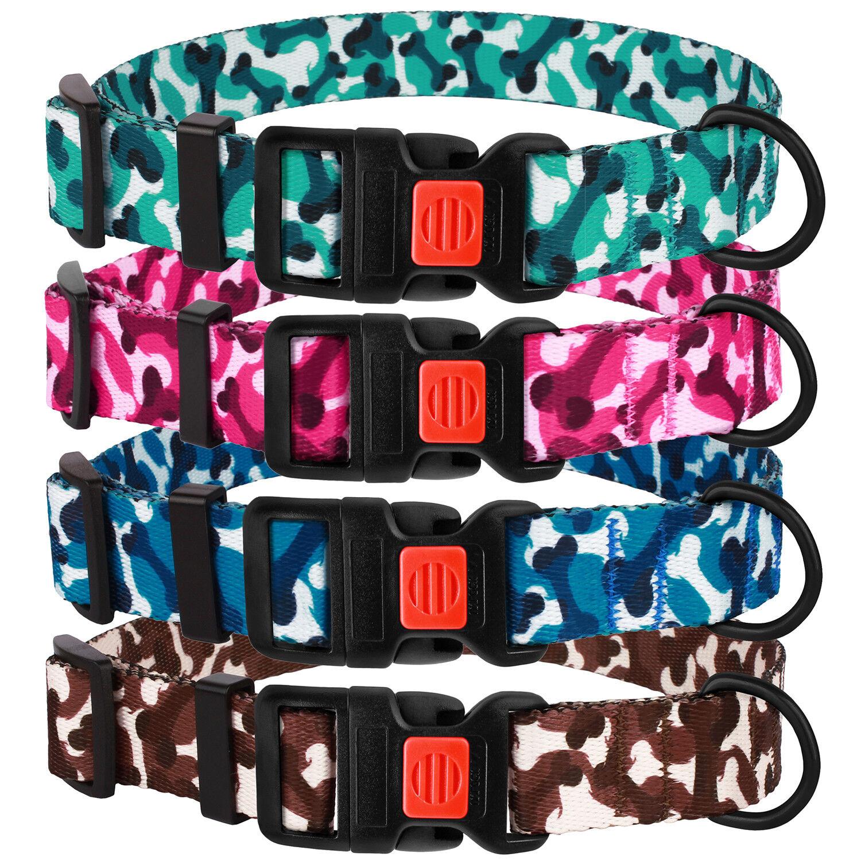 Camo Dog Collar Nylon Adjustable Collars for Small Medium La