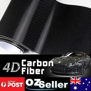 50cm x 1.51M 4D Gloss Black Carbon Fibre Fiber Vinyl Car Wrap Air Release Film