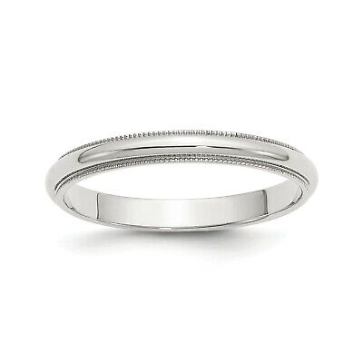 Sterling Silver 3mm Engravable Half Round Milgrain  Band 3mm Half Round Wedding Band