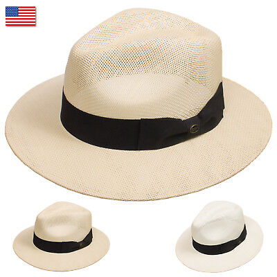 DRY77 EpochLine Summer Cool Outback Panama Wide Large Brim Fedora Straw Hat Sun