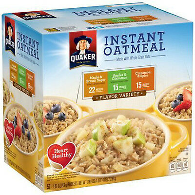 Quaker Instant Oatmeal Variety Pack 52 Ct Maple Brown Sugar Apple Cinnamon NEW!