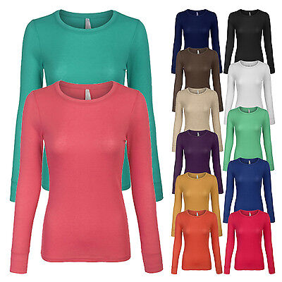 Womens Basic Lightweight Thermal Long Sleeve Crew Neck T Shirt With Stretch Sml