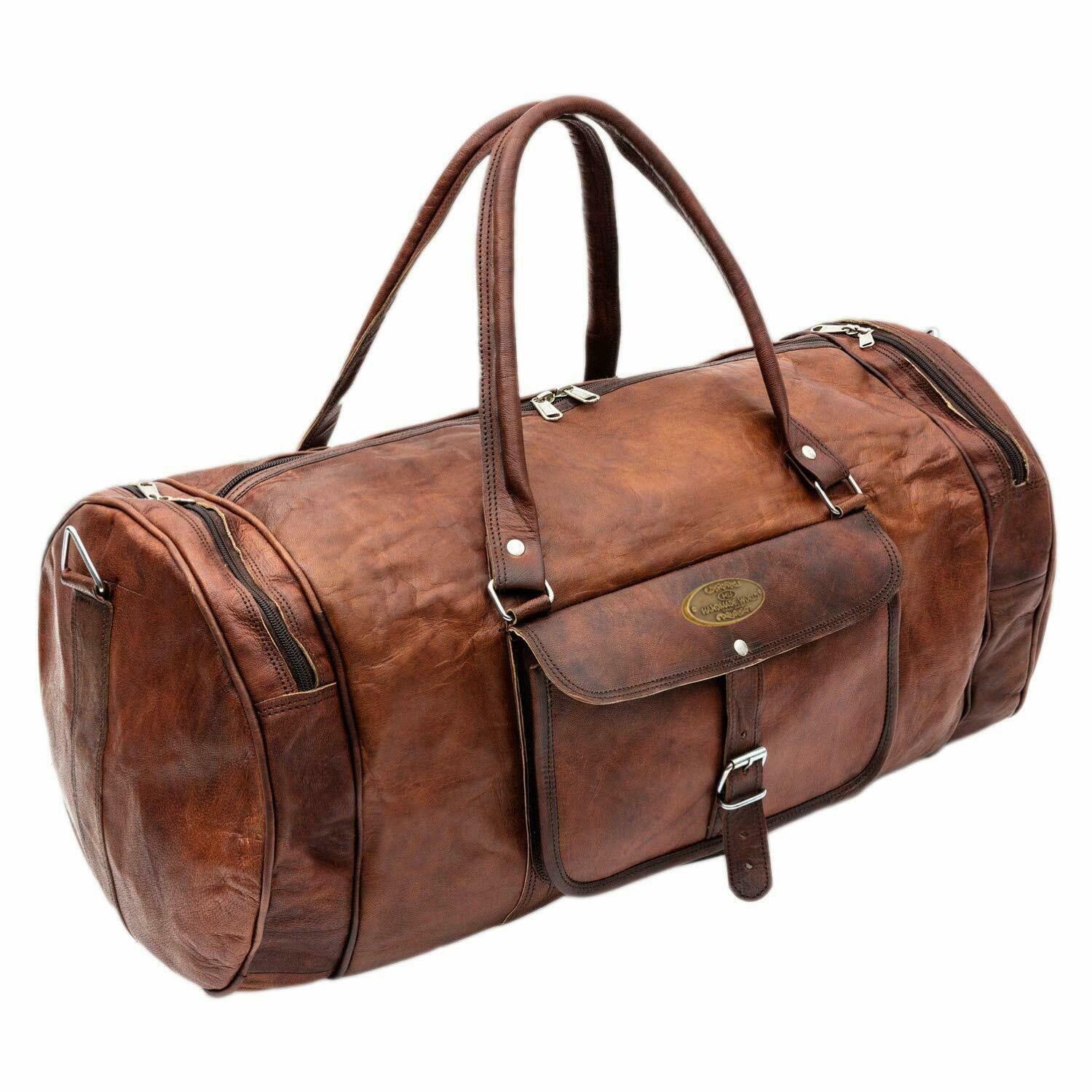 948dd2c8aecb Details about Real Leather Duffel Gym Tote Bag Travel bag Weekend Overnight  Luggage Handbag
