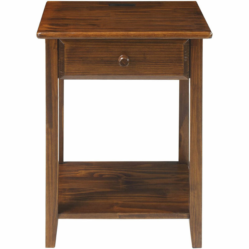 Casual Home Solid Wood Night Owl Bedside Nightstand with USB Ports, Warm Brown