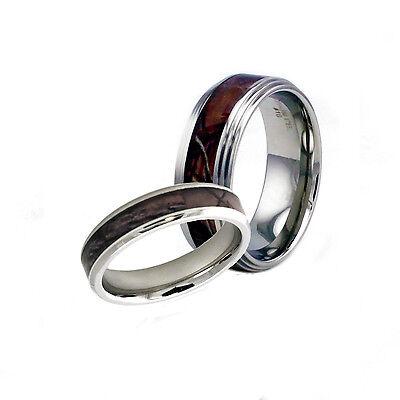 Stainless Steel Men & Women's Match Couple Camo Wedding Enga