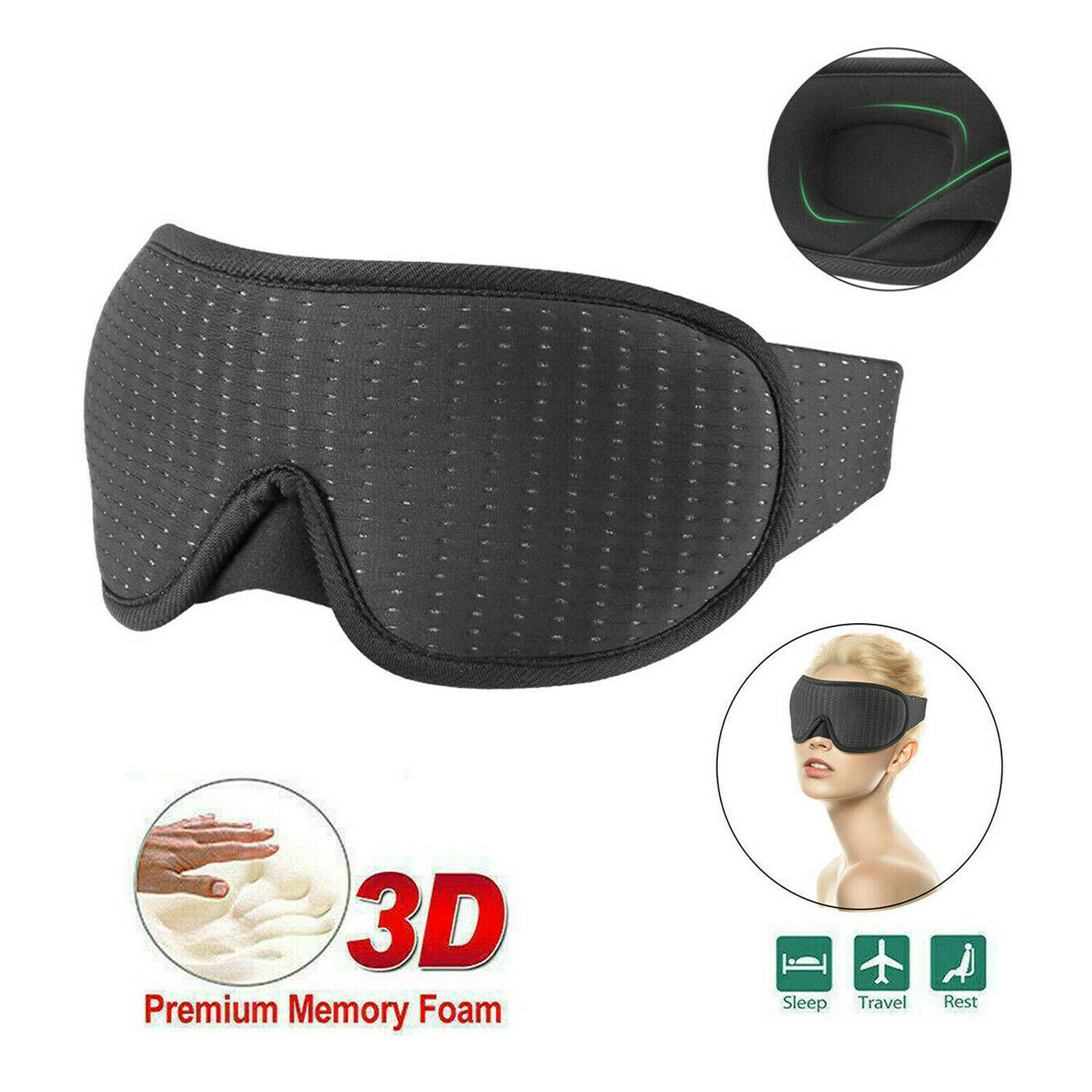 Travel 3D Eye Cover Sleep Soft Padded Shade Cover Rest Relax Sleeping Blindfold Health & Beauty