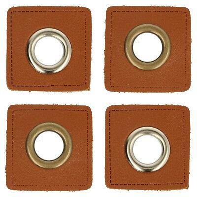 Braun Kunstleder Metall (1 Paar (2 Stk.) Ösen auf Kunstleder braun - ca. 36x36 mm - Metallösen - 3 Farben)
