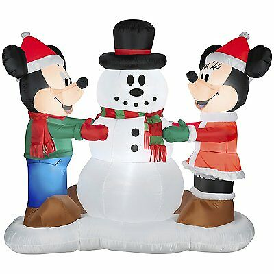 Disney Mickey & Minnie Making Snowman Airblown Inflatable Outdoor Christmas Deco