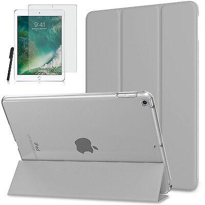 Smart Cover f. Apple iPad 9.7 2017/ 2018 New Kunstleder Schutzhülle+Folie Grau-3 Leder Smart Cover