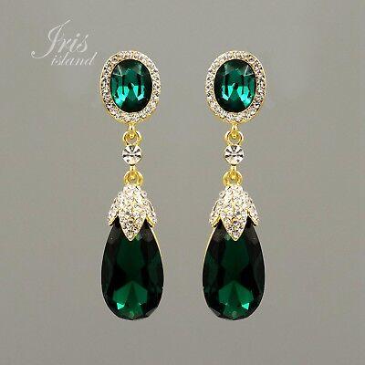 Gold Plated GP Emerald Green Crystal Rhinestone Wedding Drop Dangle Earrings (Emerald Wedding Earrings)