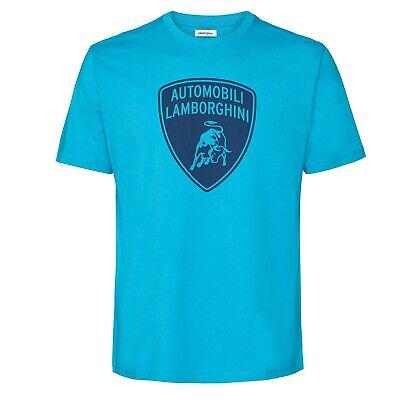 T-SHIRT Automobili Lamborghini Sportscar Navy Shield Print on Blue NEW!