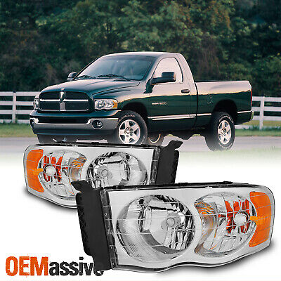 Fits 02-05 Ram 1500/2500/3500 Pickup Amber Chrome Headlights Lamps Replacement