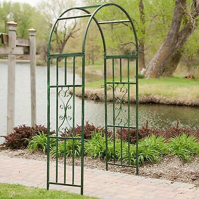 Garden Arch Iron Arched Arbor Trellis Plant Support Outdoor Gate Structure Green ()