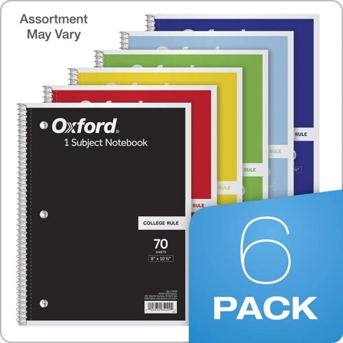 """TOPS/Oxford 1-Subject Notebooks 8"""" x 10-1/2"""" College Rule 70 Sheets  6 Pack Colo"""