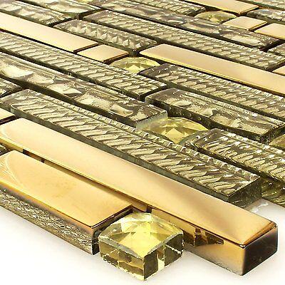 MUSTER Glasmosaik Fliesen Strukturmix Gold 15x62x8mm