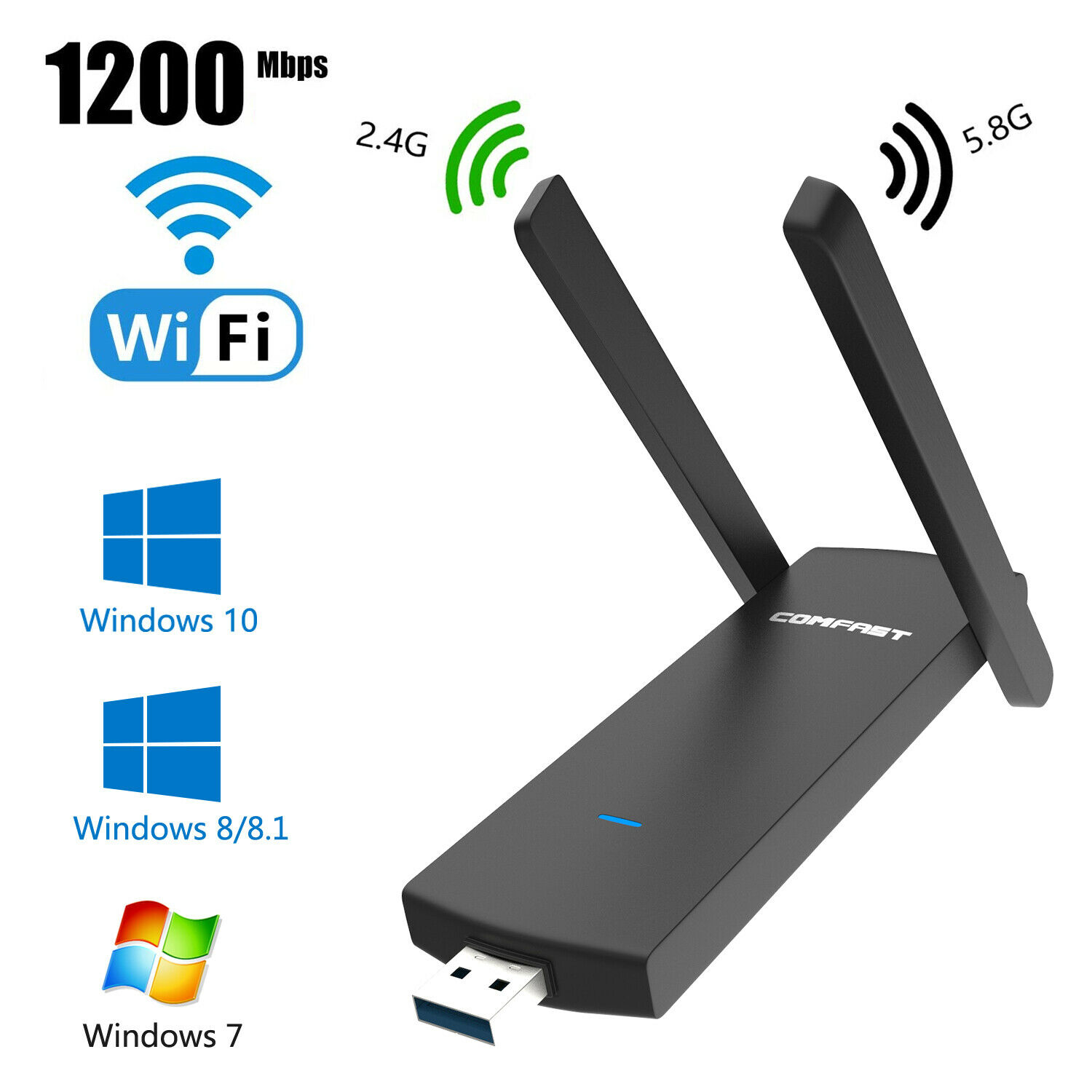 1200Mbps USB3.0 Wireless WiFi Adapter Dongle Dual Band For W