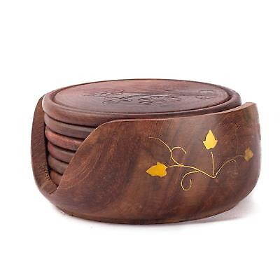 -  Wood Coaster Set with 6 Round Table Coasters and Decorative Wooden Holder Table