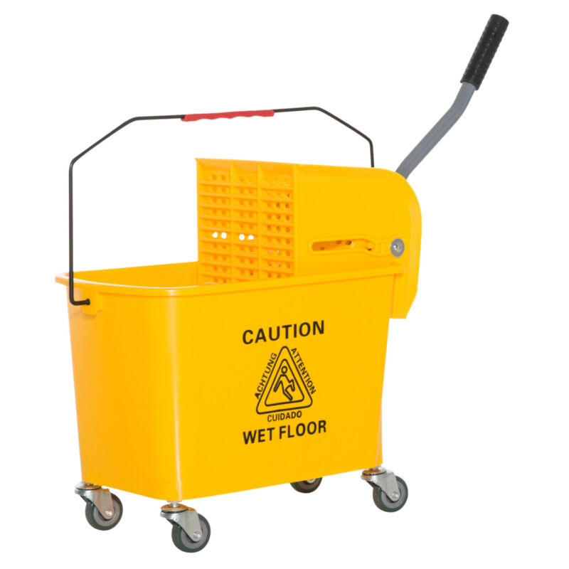 5 Gallon Mini Press Mop Bucket with Wringer 20L Rolling Cart Yellow