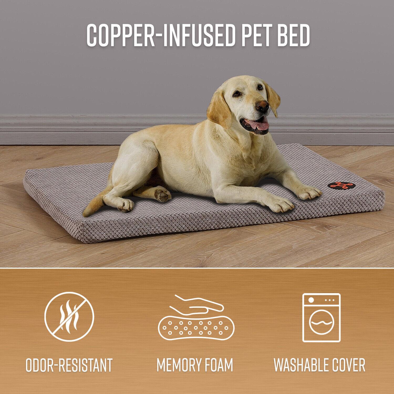 23″, 29″ or 35″ Dog Pet Bed Mat Memory Foam Orthopedic Odor Free Cushion, Grey Beds