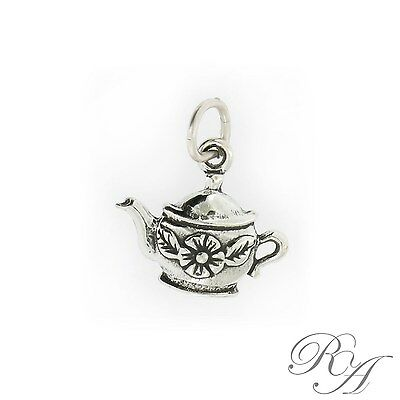 - 925 Sterling Silver Flower Teapot Charm Made in USA
