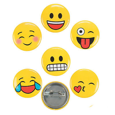 48 Emoji Mini Metal Buttons Smiley Face Rewards Goody Bags Birthday PARTY FAVORS