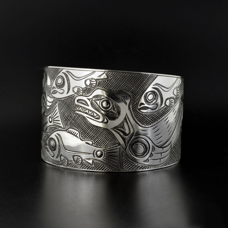 Sea Lions And Salmon Native Sterling Silver Cuff Bracelet Northwest Native Art