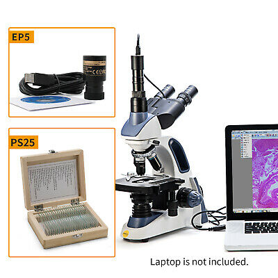 Swift 40x-2500x Trinocular Compound Microscope With Usb 5mp Camera25pcs Slides