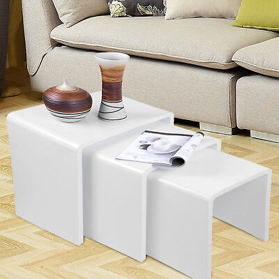 High Gloss Modern Nest of 3 Coffee Tables Side End Table Set Living Room