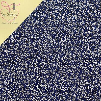 Navy 100% Cotton Ditsy Daisy Fabric