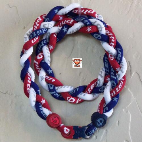 Phiten Triple Braid - Red/New Navy/White -Custom New