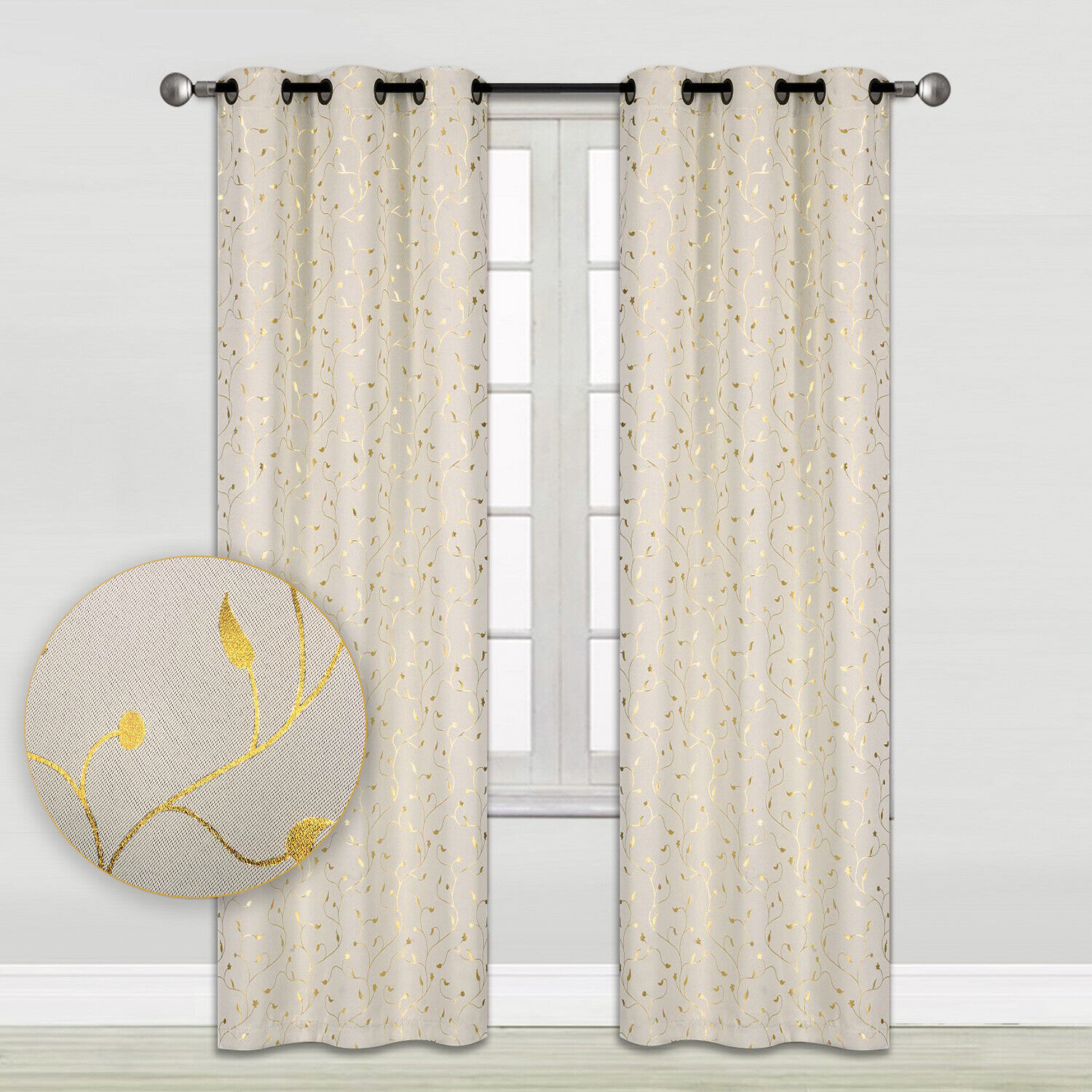 Gold Vine Embossed Blackout Window Curtains 2-Panel Pair 35″ x 84″ or 52″ x 84″ Curtains & Drapes