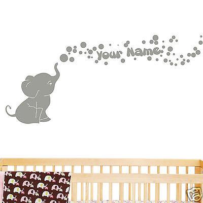 Elephant with Bubbles and Custom Name Baby Wall Decal Viny Nursery Room Decor