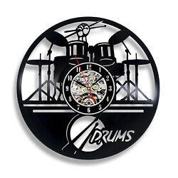 Drums Musical Instrument Band Drummer Studio Vinyl Wall Clock Music Gift Art