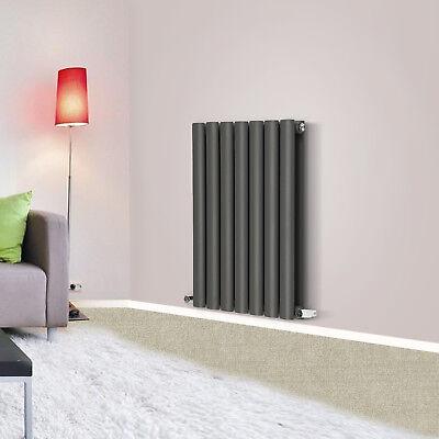 600x413mm Horizontal Oval Column Designer Radiator Central Heating Anthracite