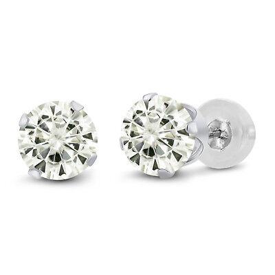 Charles & Colvard 14K White Gold Earrings Forever Classic Moissanite 2.00ct DEW